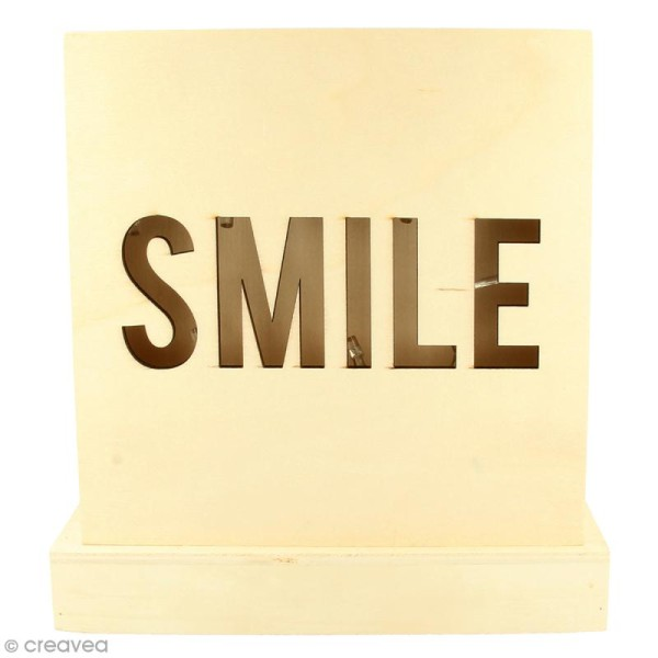 Petit tableau LED en bois - Smile - Photo n°1