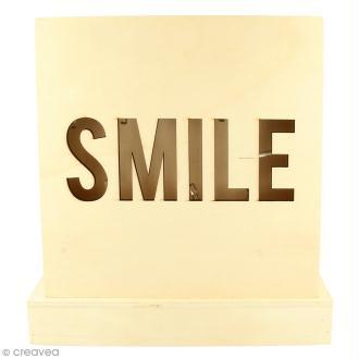 Petit tableau LED en bois - Smile