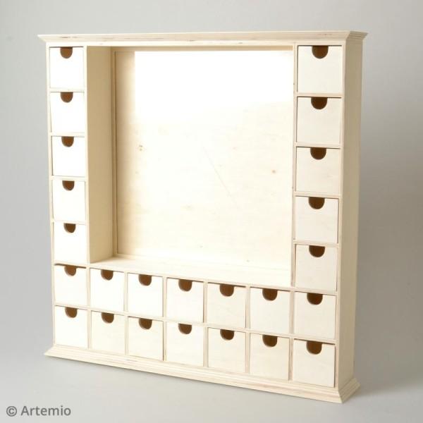 Calendrier de l'Avent en bois à décorer - Grand cadre - 44 x 44 cm - Photo n°2