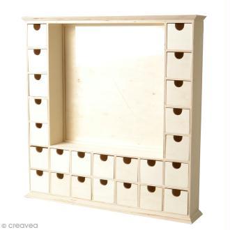 Calendrier de l'Avent en bois à décorer - Grand cadre - 44 x 44 cm