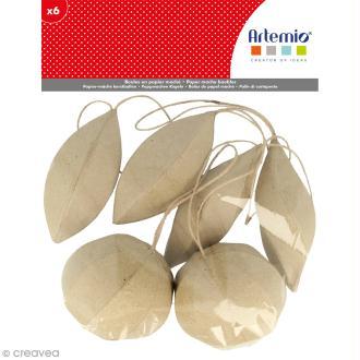 Forme en papier mâché - Boules de Noël - 6 pcs