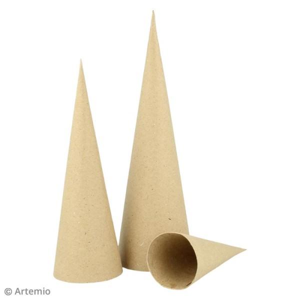 Forme en papier mâché - Sapin cône - 3 pcs - Photo n°2