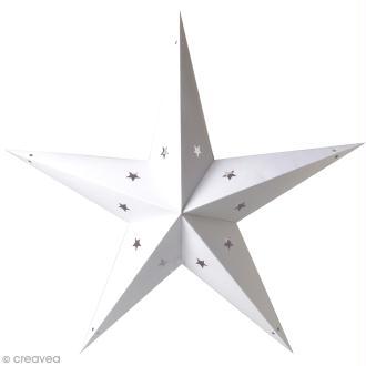 Etoile 3D en papier à décorer - Blanc ajouré - 70 cm