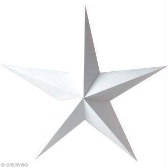 Etoile 3D en papier à décorer - Blanc - 70 cm