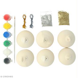 Kit créatif Décorations boules de Noël en céramique - 6 cm