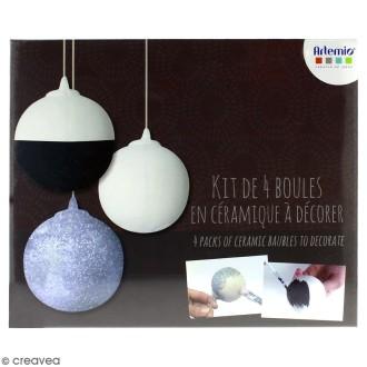 Kit créatif Décorations boules de Noël en céramique - 8 cm