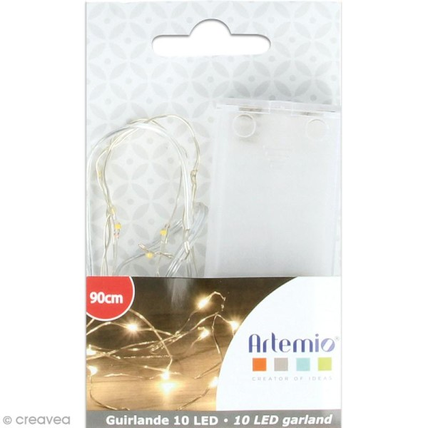 Guirlande lumineuse LED - 10 ampoules - Blanc chaud - 90 cm - Photo n°1
