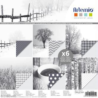 Papier scrapbooking Artemio - Images d'hiver - 30,5 x 30,5 cm - 6 feuilles