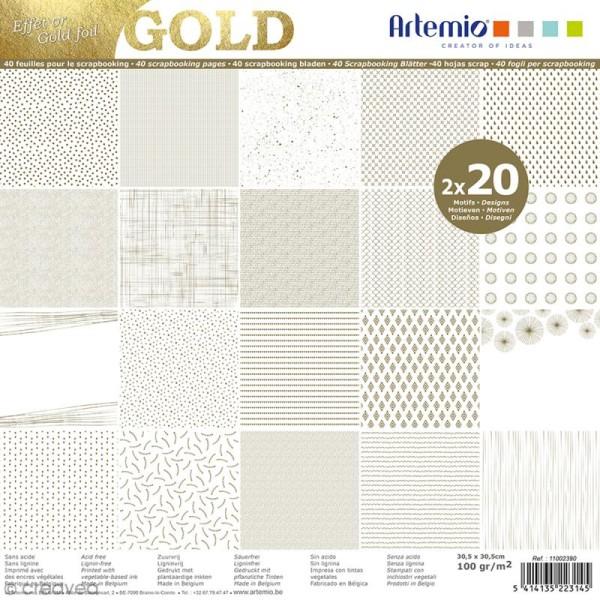 Papier scrapbooking Artemio - Foil doré - 30,5 x 30,5 cm - 40 feuilles - Photo n°1