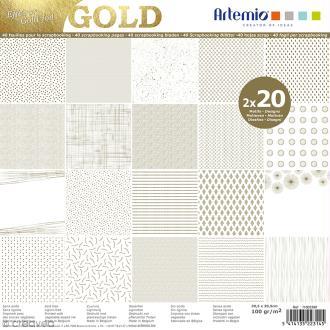Papier scrapbooking Artemio - Foil doré - 30,5 x 30,5 cm - 40 feuilles