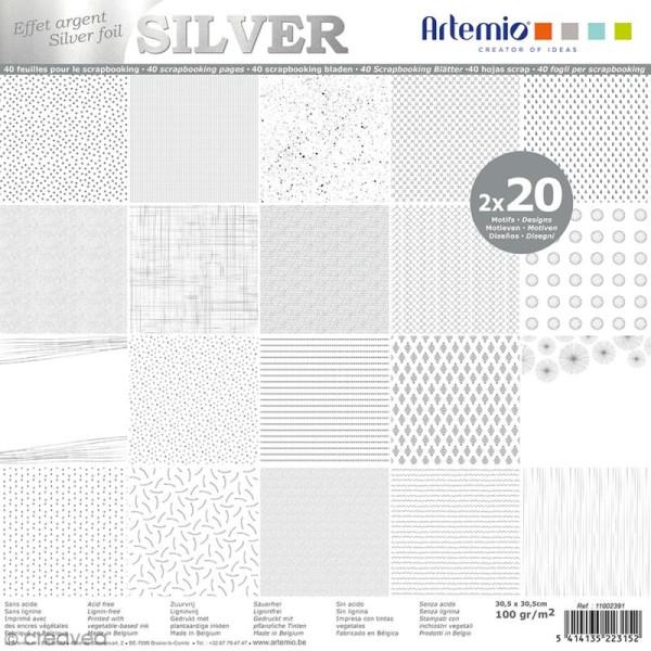 Papier scrapbooking Artemio - Foil argenté - 30,5 x 30,5 cm - 40 feuilles - Photo n°1