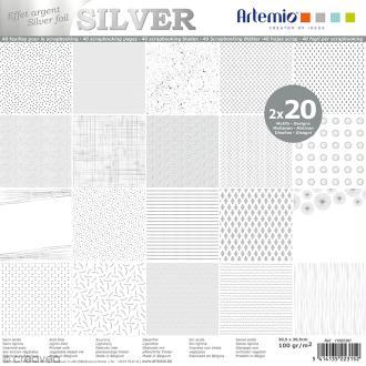 Papier scrapbooking Artemio - Foil argenté - 30,5 x 30,5 cm - 40 feuilles