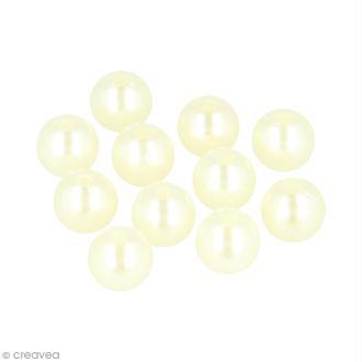 Perles rondes 14 mm - Ivoire - 28 pcs environ