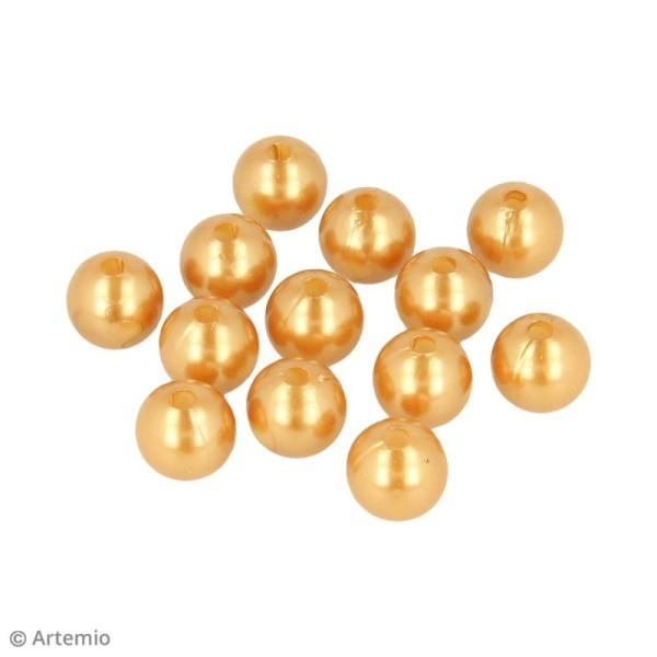 Perles rondes 14 mm - Doré - 28 pcs environ - Photo n°2