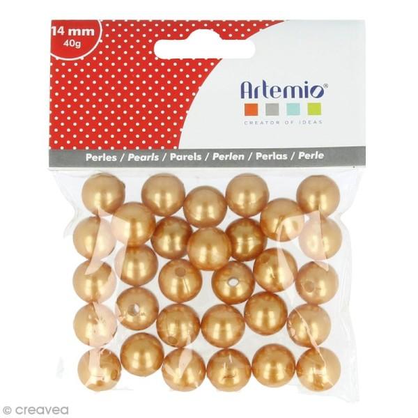 Perles rondes 14 mm - Doré - 28 pcs environ - Photo n°1