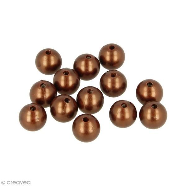 Perles rondes 14 mm - Chocolat Cuivré - 28 pcs environ - Photo n°1