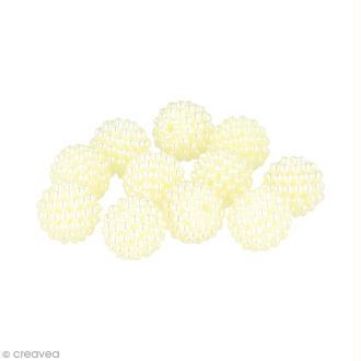 Perles forme framboise 14 mm - Ivoire - 21 pcs environ