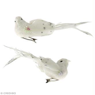 Oiseau en plume - Blanc à paillettes - 14 x 4,5 cm - 2 pcs