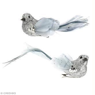 Oiseau en plume - Argenté à paillettes - 14 x 4,5 cm - 2 pcs