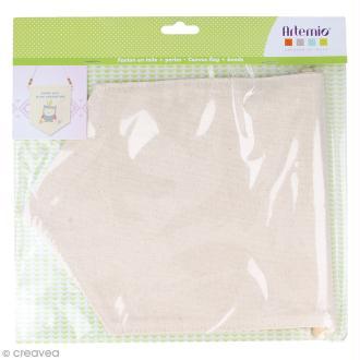Fanion en tissu à décorer et perles - 26 x 20 cm - Blanc cassé