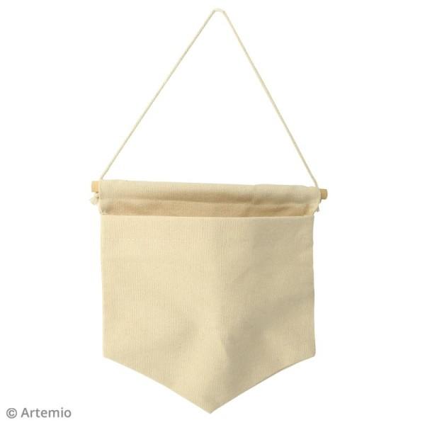 Fanion en tissu à décorer avec poche - 21 x 20 cm - Blanc cassé - Photo n°2