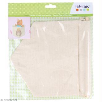 Fanion en tissu à décorer avec poche - 21 x 20 cm - Blanc cassé