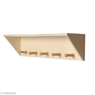 Patère en bois 5 crochets - 40 x 10 cm