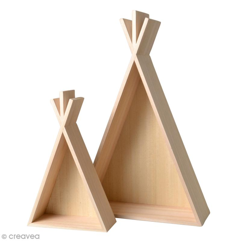 Etagères Tipi en bois à décorer - 30 x 45 cm - 2 pcs - Photo n°1