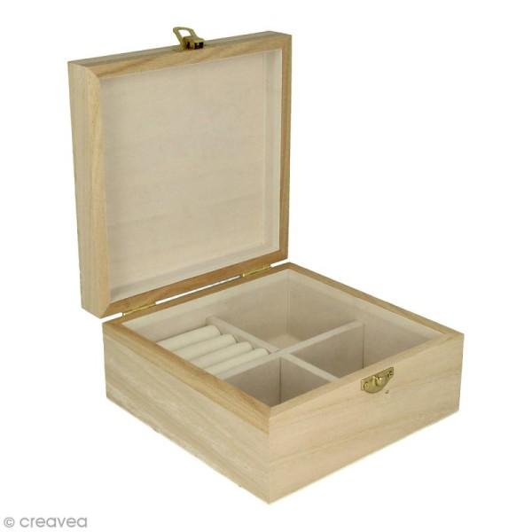Boîte à bijoux en bois à décorer - 16 x 16 x 8 cm - Photo n°1