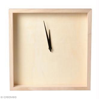 Horloge cadre en bois à décorer - 33 x 33 x 4 cm