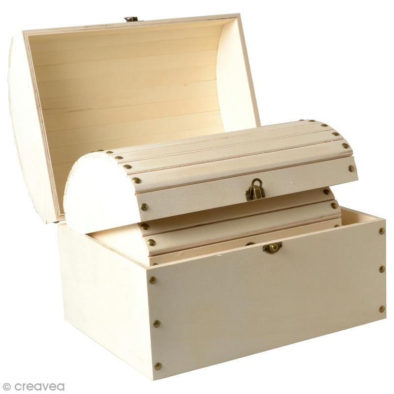 3 coffres gigognes en bois d corer 32 x 24 5 cm meuble miniature en bois creavea. Black Bedroom Furniture Sets. Home Design Ideas