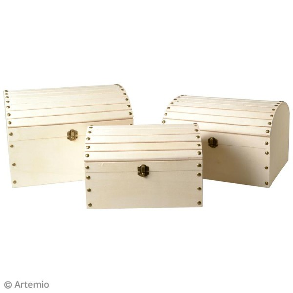 3 coffres gigognes en bois à décorer - 32 x 24,5 cm - Photo n°3