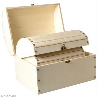 3 coffres gigognes en bois à décorer - 32 x 24,5 cm
