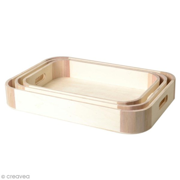 Set Plateaux rectangles en bois brut - 29, 32 , 35 cm - 3 pcs - Photo n°1