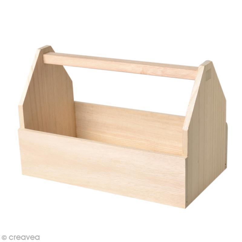Boîte à outils en bois à décorer - 30 x 20 cm - Photo n°1