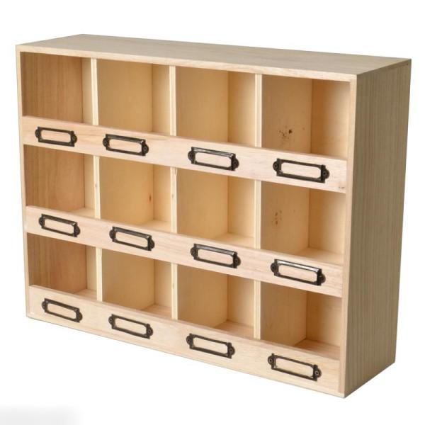 Meuble casier en bois brut - 12 emplacements - 47 x 11 x 31,5 cm - Photo n°2