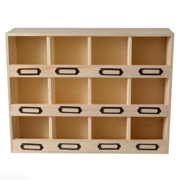 Meuble casier en bois brut - 12 emplacements - 47 x 11 x 31,5 cm - Photo n°1