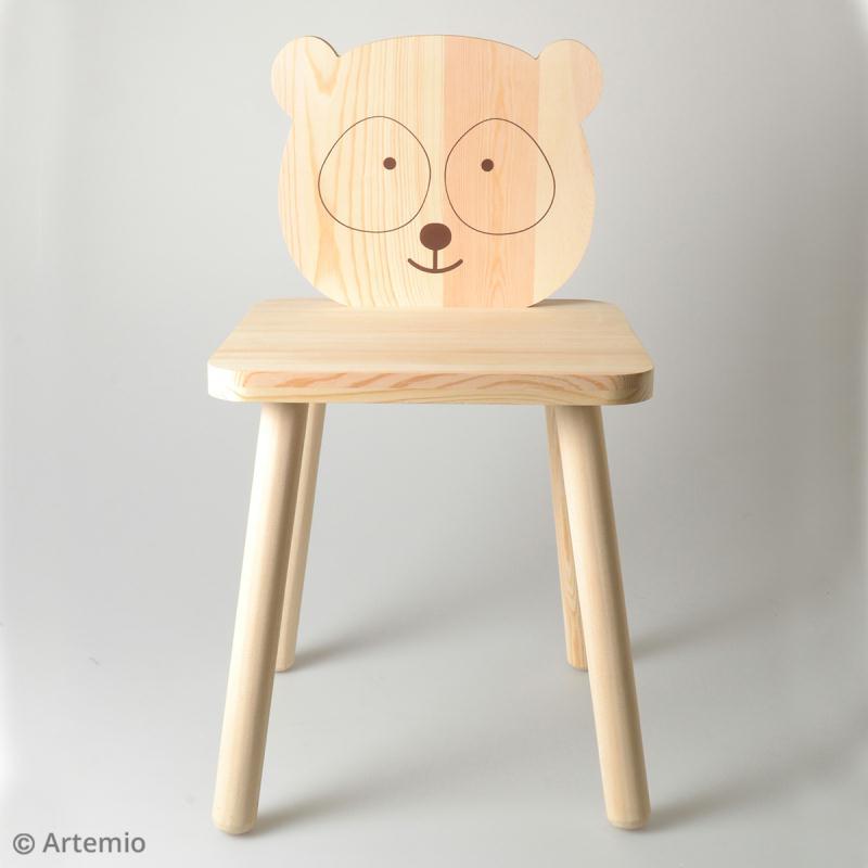 Chaise pour enfant à construire et décorer - Panda adorable - 29 x 53 cm - Photo n°2