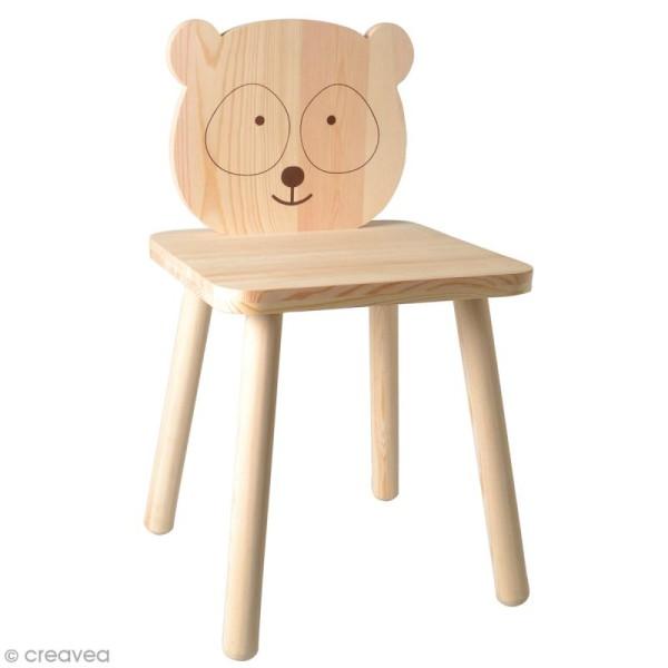 Chaise pour enfant à construire et décorer - Panda adorable - 29 x 53 cm - Photo n°1