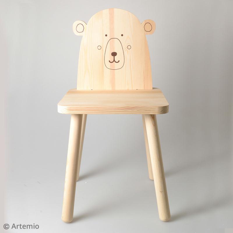 Chaise pour enfant à construire et décorer - Ours adorable - 29 x 57 cm - Photo n°2