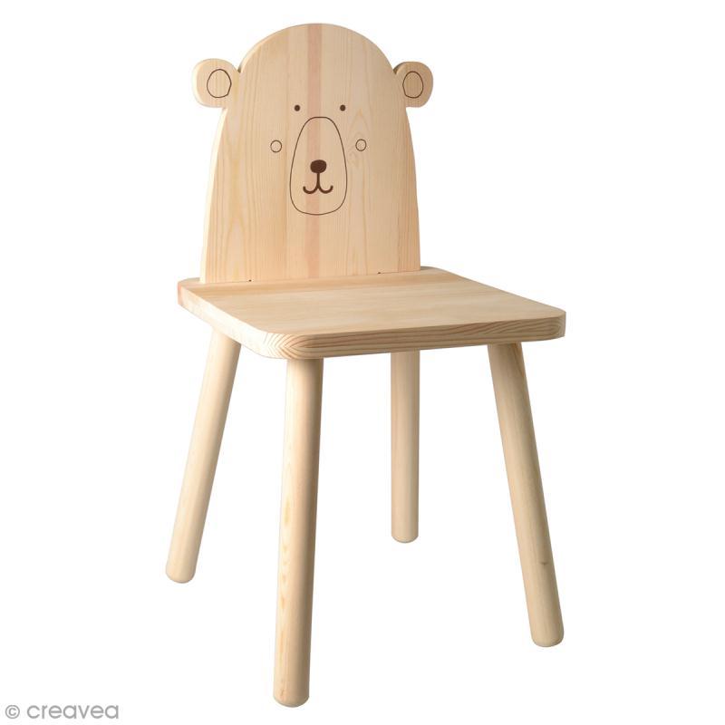 Chaise pour enfant à construire et décorer - Ours adorable - 29 x 57 cm - Photo n°1