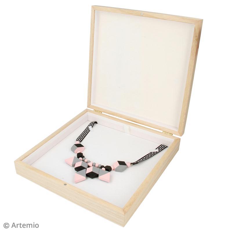 Boîte à collier en bois à décorer - 19 x 19,5 cm - Photo n°3
