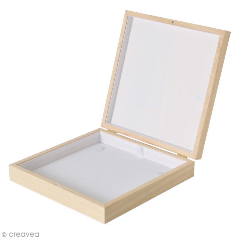 Boîte à collier en bois à décorer - 19 x 19,5 cm - Photo n°1