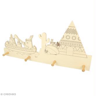 Patère en bois 4 crochets - Animaux totem - 40 x 19 cm