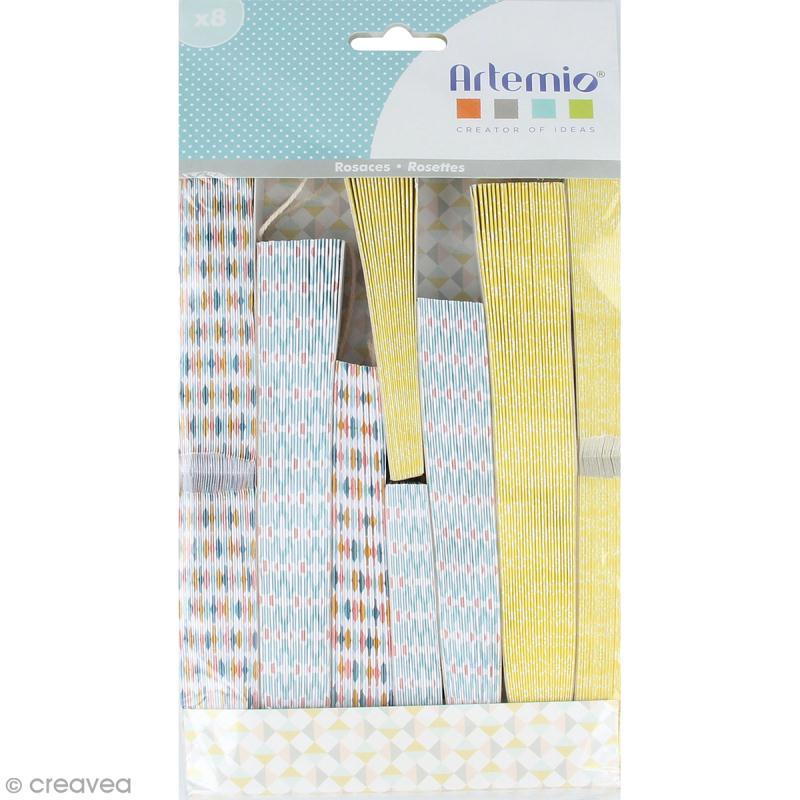 rosaces d co en papier jaune bleu pastel 8 pcs d co. Black Bedroom Furniture Sets. Home Design Ideas