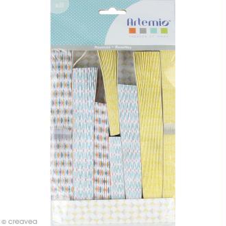 Rosaces déco en papier - Jaune bleu pastel - 8 pcs