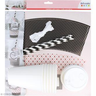 Kit gobelet en carton à décorer - Blanc, noir, rose - 6 pcs