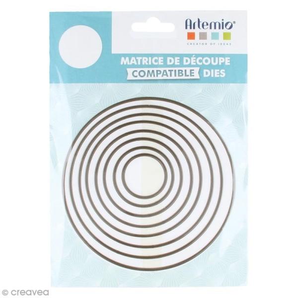Set de dies imbriqués Artemio grand format - Cercles - 12 cm- 8 pcs - Photo n°1