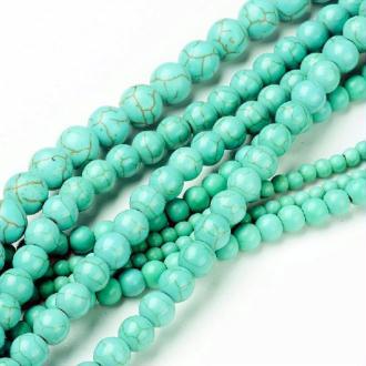 16 Perles turquoise 8 millimètres -trou 1mm - pierre dure synthétique