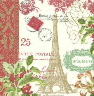 4 Serviettes en papier Paris en Hiver Format Lunch